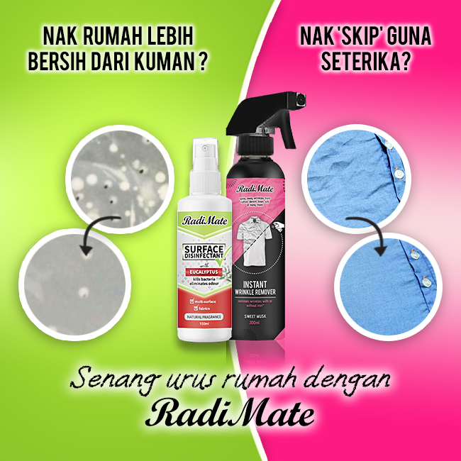 1PC RADIMATE INSTANT WRINKLE REMOVER + 1PC SURFACE DISINFECTANT - RM33.00