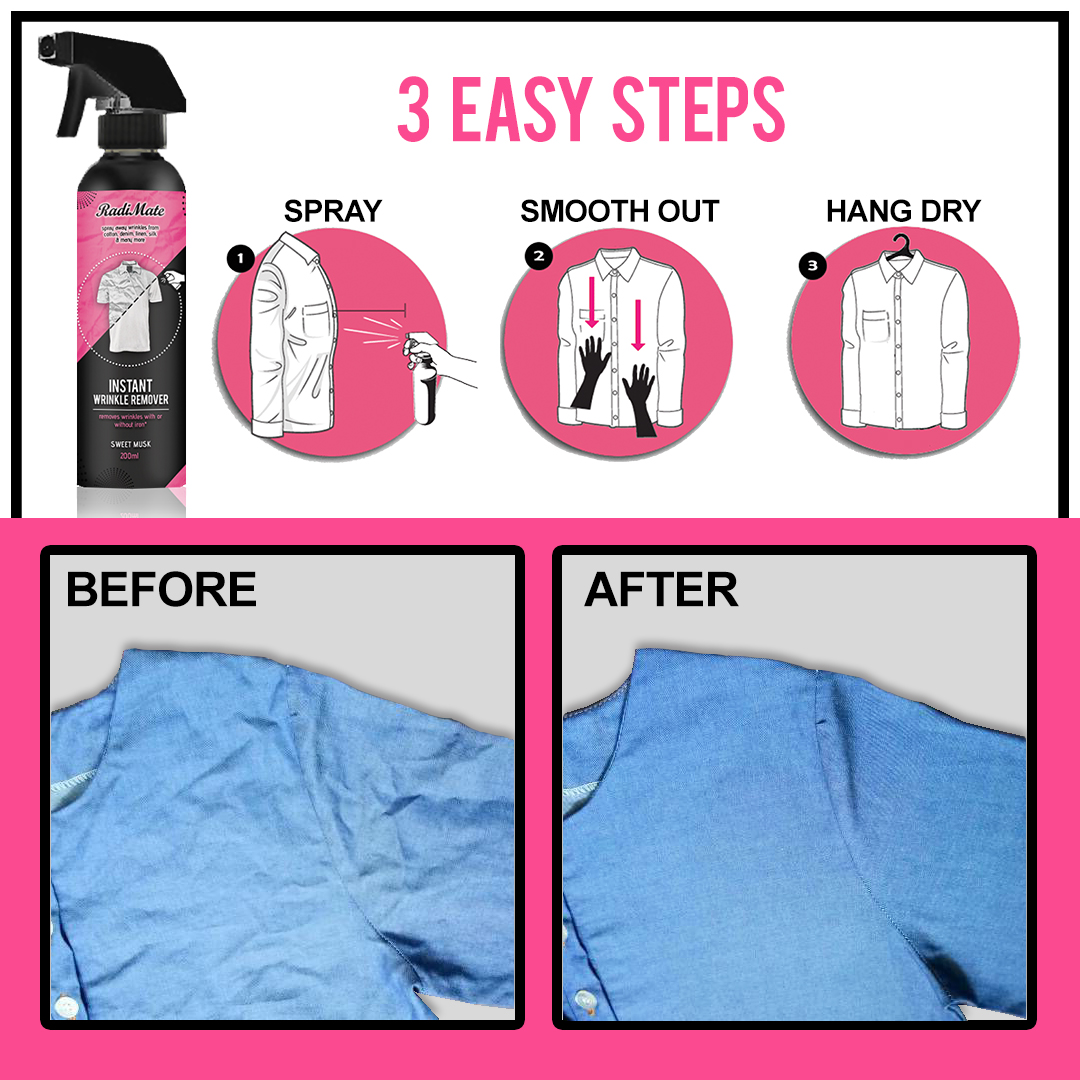 2PCS RADIMATE - INSTANT WRINKLE REMOVER - SWEET MUSK - FREE HANGERS - RM38.00